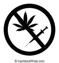 Prohibition sign no drugs and marijuana allowed.