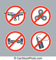 Prohibition sign No hoverboard inside of round. Vector flat simple icon