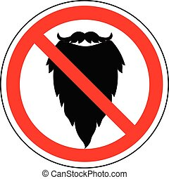 Prohibition sign of beard, vector