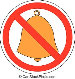 Prohibition sign of handbell, vector