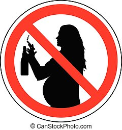 Prohibition sign of smoking cigarette and drinking alcohol for pregnant woman, vector.