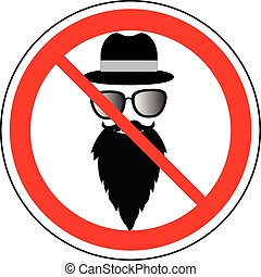 Prohibition sign of wearing hat, glasses and beard, vector