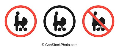 Prohibition sign on a white background. No stroller. Vector icon