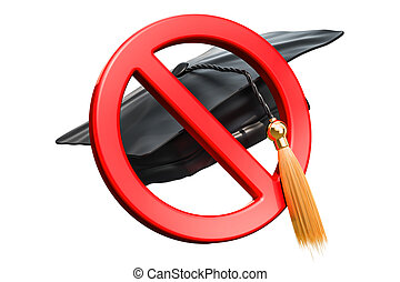 Prohibition sign with graduation cap, 3D rendering