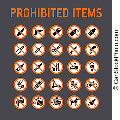 Prohibition signs collection security control in stadium ...