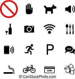 Prohibition signs icons: stop enter dog smoke run eat photo money