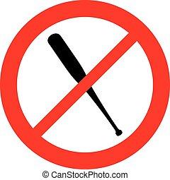 (prohibition, slagträ, nej, symbol), underteckna, ikon, baseball, tillåtet, inte