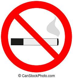 prohibitorio, señal, con, un, cigarrillo, un