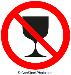 Prohibitory sign with a goblet