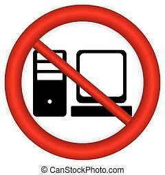 Prohibitory sign with computer icon