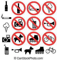 Signs forbidding different actions in various places. Signs are located on a white background.