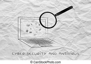 prohlížet, počítač na klín, antivirus, barometr, analyzovat, zvetšovací sklo
