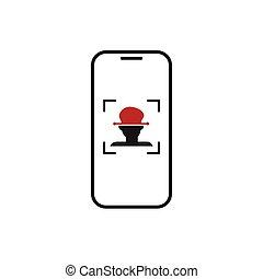 prohlížet, systém, čelit, telefon, uznání, bystrý, ikona