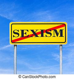 proibição, de, sexismo, signboard