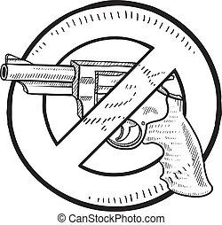 proibição, esboço, handgun