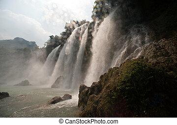 proibição, gioc, cachoeira, em, vietnam.