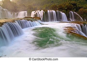proibição, gioc, -, detian, cachoeira, em, cao, estrondo, vietnã