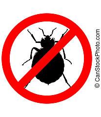 proibição, sinal, para, bedbugs, branco, fundo