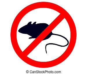 proibição, sinal, para, ratos