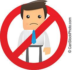 proibição, trabalhador, escritório, sinal