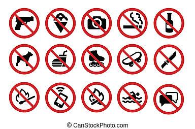 proibidas, sinais