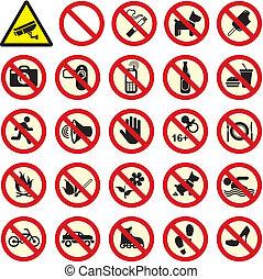 proibido, não, sinal parada
