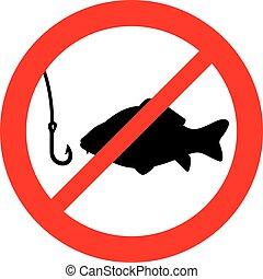 proibido, pesca, sinal
