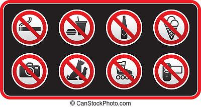 proibido, sinais, adesivo