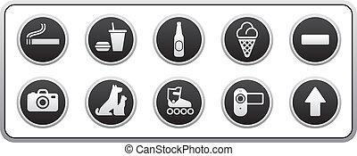 proibido, sinais, redondo, adesivo
