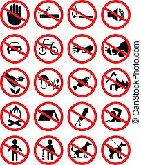 proibir, jogo, ícones