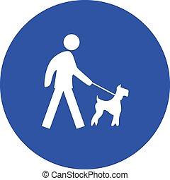 proibire, guinzaglio, cane, segno