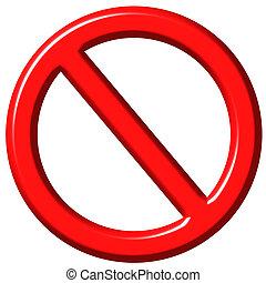 proibito, 3d, segno