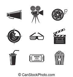 proiettore, set, icone, cinema, film, cinema, -, drink., assicella, vetro, vasca, occhiali, strisce, 3d, striscia, popcorn, film, biglietto