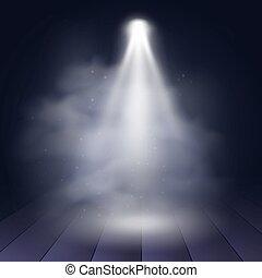 projeção, iluminado, madeira, cena, discoteca, decoração, clube, vetorial, fundo, theater., apresentação, holofote, illustartion.