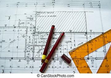 projec, architecturaal, plan, technisch