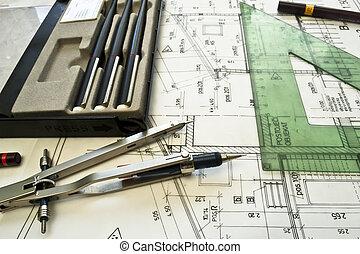 projec, arkitektonisk, plan, teknisk