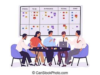 project., オフィスの人々, 付せん, テーブル, style., 問題, グループ, ノート。, 仕事, 労働者, 板, 下に, 平ら, のまわり, モデル, スクラム, イラスト, 漫画, 仕事, 仕事, に対して, ベクトル, チーム, 論じる, ∥あるいは∥