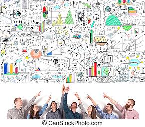 project., ビジネス考え, 創造的, 示しなさい, 概念, チームワーク, チーム