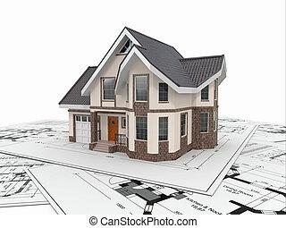 project., 住宅の, ハウジング, 建築家, 家, blueprints.