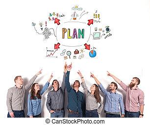 project., 商业想法, 创造性, 表明, 概念, 配合, 队
