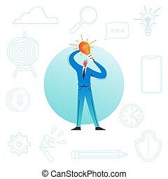 project., affär, start, concept., tecken, illustration, skapande, nyskapande, idé, vektor, brainstorming, ledarskap, lätt, affärsman, manlig, bulb.