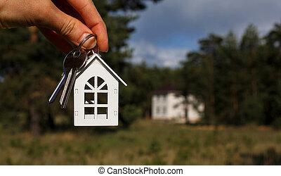 project., bois, chaîne, main, texte, en mouvement, rural, inachevé, rêve, emplacement, achèvement, clés, house., fond, petite maison, clã©, espace