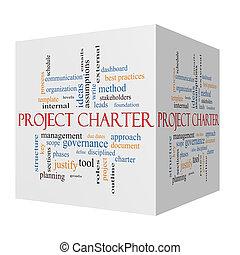 Project Charter 3D cube Word Cloud Concept