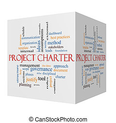 Project Charter 3D cube Word Cloud Concept