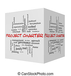 Project Charter 3D cube Word Cloud Concept in red caps