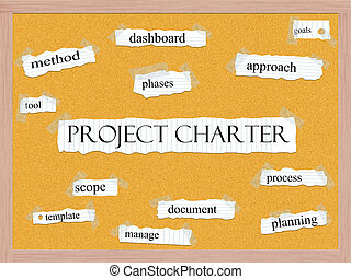 Project Charter Corkboard Word Concept with great terms such as dashboard, goals, tool and more.