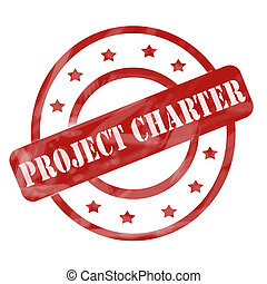 A red ink weathered roughed up circles and stars stamp design with the word PROJECT CHARTER on it making a great concept.