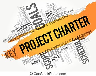 Project Charter word cloud collage, business terms such as ...