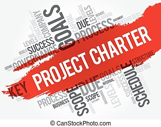 Project Charter word cloud collage, business terms such as...