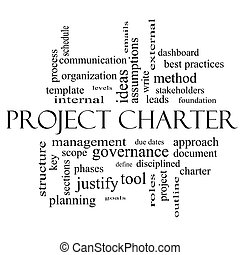 Project Charter Word Cloud Concept in black and white